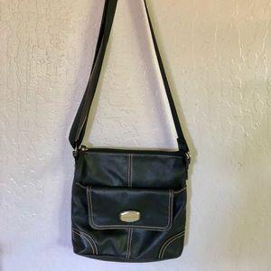 Preowned Black Leather Franco Sarto Crossbody Bag